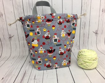 Knitting Chickens Bucket Bag, Knitting project bag, Crochet project bag,  Zipper Project Bag, Yarn bowl