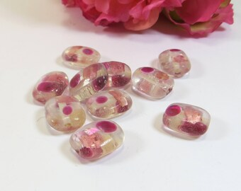 DESTASH BEADS - 10 Clear and Pink Handmade Lampwork Glass Beads for Jewellery Making  14 x 16mm - DESTASH