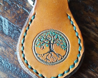Summer Tree Handcrafted Leather Key Fob