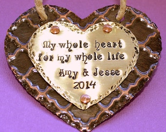 Personalized Wedding Ornament - Hand Stamped Anniversary Gift - Christmas Decoration - Primitive Rustic Heart