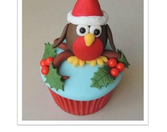 Little 3D Christmas Robin Cupcake
