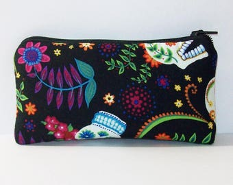 """Day of the Dead Bag, Glass Pipe Pouch, Pipe Case, Pipe Bag, Stoner Gift, Hippie Bag, Boho Bag, Flower Skulls Pouch, Pipe Cozy - 5.5"""" SMALL"""