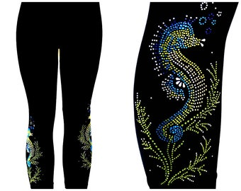 Regular Size Capri Length Leggings Embellished All Rhinestone Shimmering Seahorses Design