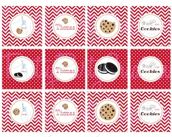 Vintage MILK and COOKIES cupcake toppers - YOU Print