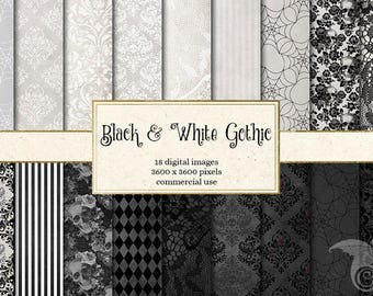 Black and White Gothic digital paper, Halloween damask lace backgrounds, skull patterns, rustic goth grunge distressed backgrounds textures