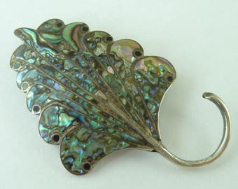 Sterling Marked Mexican Silver Leaf Abalone Shell Brooch Pin Pendant Vintage