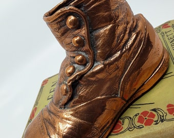 Vintage Bronzed Baby Shoe, Bronze Button Up Baby Boot, Copper Baby Shoe