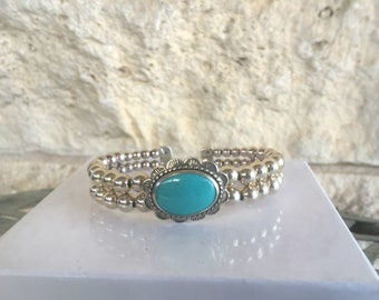 Turquoise Bracelet by Relios by Carolyn Pollack Vintage Turquoise Cuff Western Bracelet Silver Pearls 90s Southwestern Jewelry