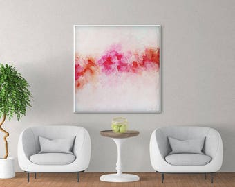 Abstract Peony Art, Large Abstract Painting, Pink Painting, Peony Painting, Floral Painting, Modern Wall Art Living Room, Giclee Art Print