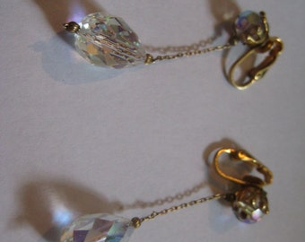 50s Clipback Earrings with Faceted Crystal AB Beads and  Crystal AB Drop Beads
