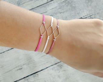 Rhombus charm bracelet, friendship bracelet, macrame bracelet, minimal bracelet, geometric bracelet, simple bracelet, gift, bachelorette