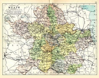 Meath 1897 - Antique Irish Map of County Meath - PRINT 8 x 10ins - Ships worldwide