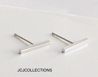 Tiny Bar Earrings, Square Bar. Earrings, Silver, Simple