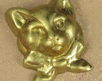 6 Raw Bare Naked Brass Small Kitty Cat Metal Stamping Jewelry Finding 1077