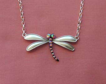 Silver Dragonfly Necklace Pendant Pink Mothers Day Gift