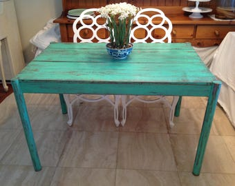 "COTTAGE BEACHHOUSE TABLE / Vintage Farmhouse Dining Table Plank Top 48"" long / Fun Chippy Aqua Green / Island Cottage Retro Daisy Girl"