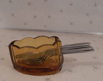 Rare 1970s Amber Glass Spoon Holder