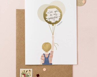 Little Boy Ask Be My Godfather - Scratch Off Card - Write Your Message - Available with Blond, Brown & Black Hair