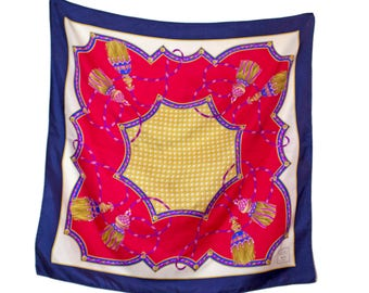 1980s Weill Red Blue and Gold Blue Square Silk Scarf with a Classic Scarf Print Design / Silk Twill / Tassel Print / 80s / Elegant