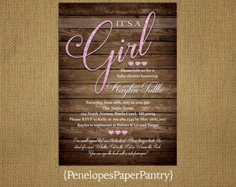 Rustic Baby Girl Shower Invitation,Pink Glitter Print,Calligraphy,Hearts,Barn Wood,Book Poem,Custom,Printed Invitation,Envelopes