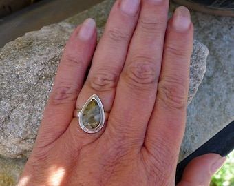 Picasso Jasper Ring, U.S. Size 9 Solid Sterling Silver, Genuine Silver and Natural Jasper