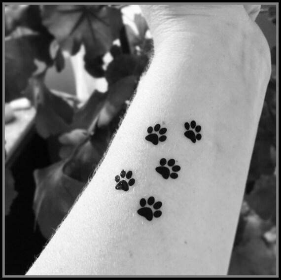 Tiny Paw Prints Set Of 5 Temporary Tattoos Fake Tattoos Animal