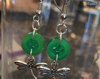 Green button earrings with dragonfly charm!