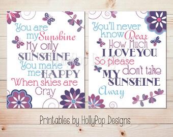 Printable You are my sunshine decor Girl nursery art Printable nursery art Girls room decor Printable art prints Butterfly wall art #1243