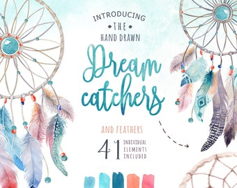 Watercolor feathers dreamcatcher Bohemian. Clipart tribe. Digital watercolor feather, PNG Watercolourdreamcatchers. Boho style. Hand painted