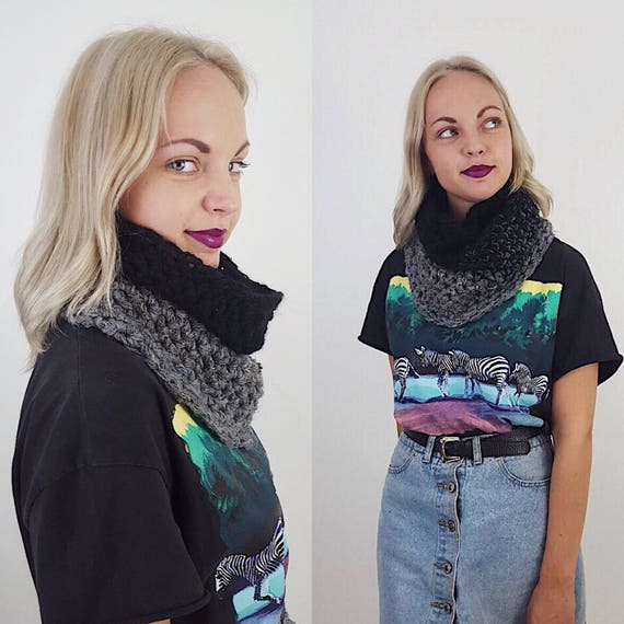Handknit Handmade Black Gray Ombre Circle Scarf - Boho Hipster Art Fashion Womens Accessory - Soft Warm Fall Upcycled Yarn Womens Cowl Scarf