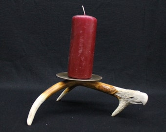 Candle holder with eagle/feather carving (CH2)