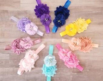 Pick 3 Baby Headbands - Newborn Headbands - Baby Headbands - Pink Baby Headband - Red Baby Headband - White Headband - Hot Pink Headband