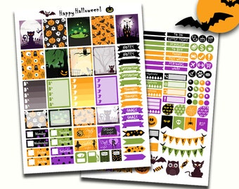 Printable Halloween Planner Stickers, Digital Halloween Kit, Fall Stickers, Halloween Planner Printables, Autumn Stickers