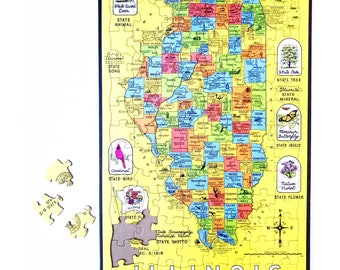 Vintage Illinois 'Land of Lincoln' Map Puzzle (1986)