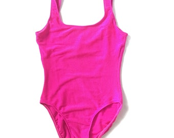 Vintage 90s Ribbed Hot Pink One Piece Swimsuit Bathing Suit