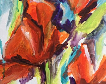 Abstract floral painting  Flower Art shabby chic home decor Red Orange Poppies expressionism