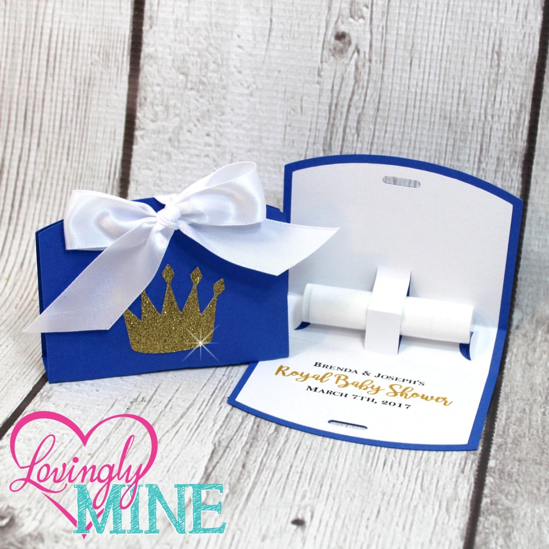 Lip Balm Holder Favor Bags Prince Royal Blue Glitter Gold &