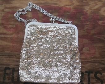 Vintage Silver Sequin and Beaded Made in Hong Kong Evening Handbag