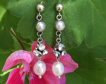 Earrings with Cubic Zirconium, freshwater pearls  and Sterling Silver