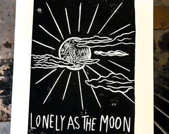 Lonely As The Moon lino print