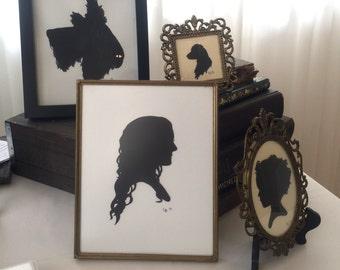 Watercolor Silhouette Portrait, unframed