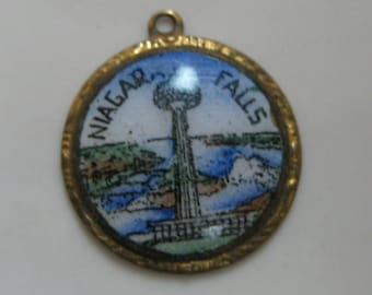 SALE Niagra Falls Souvenir Charm Antique Vintage Enamel Brass NIAGRA FALLS Charm Pendant for Charm Bracelet or Necklace