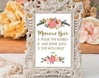 Bar sign, Mimosa Bar Sign, Bridal Shower Mimosa Bar Sign, Baby Shower Mimosa Bar Sign, Printable Mimosa Bar Sign, Mimosa Bar