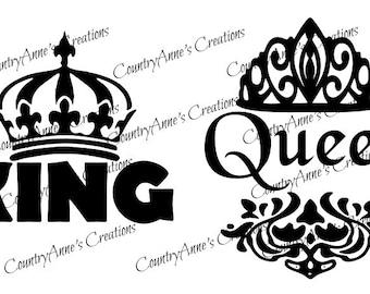 "SVG PNG DXF Eps Ai Wpc Cut file for Silhouette, Cricut, Pazzles  - ""King Queen"" Pillow case svg"