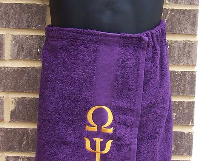 OMEGA PSI PHI Greek Letter Embroidered Pool, Spa, Gym, Deep Purple Terry Cloth Shower Wrap