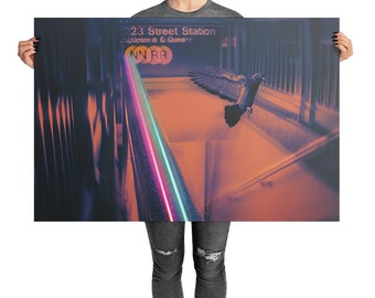 New York City Subway Glitch Art Print NYC Vaporwave Poster Psychedelic Surreal Art Original Art