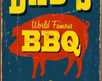 """Dad's BBQ Vintage Look Reproduction Metal Sign 8""""W x 12""""H"""