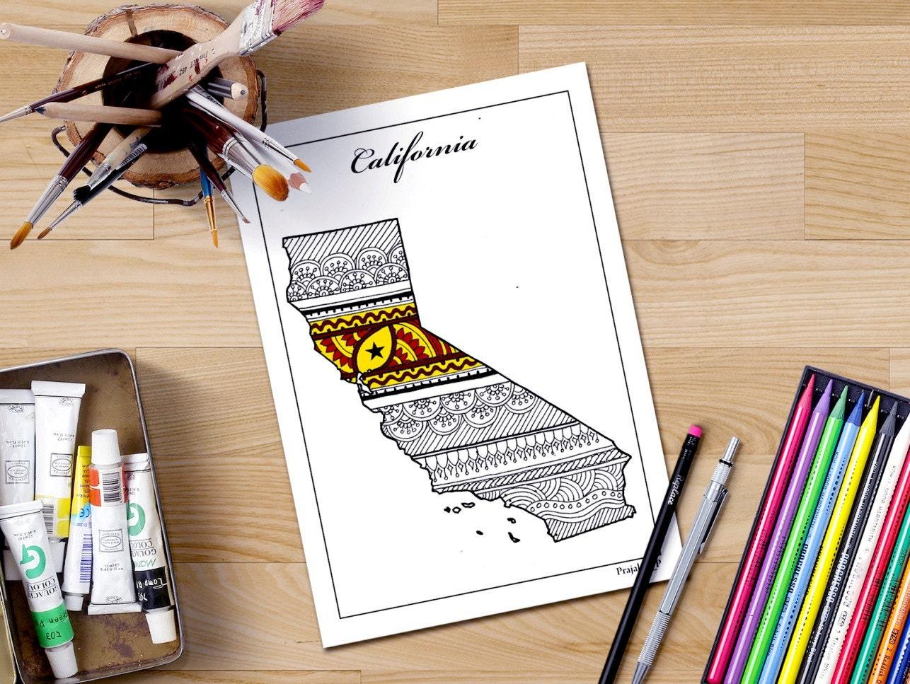 Mapa de California para colorear páginas de arte imprimible