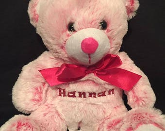 stuffed pink bear with childs name personalized valentines day