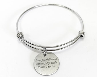 I Am Fearfully And Wonderfully Made Psalm 139:14 Scripture Expanding Bangle Charm Bracelet, Bible Verse Jewelry, Graduation Gift for Her